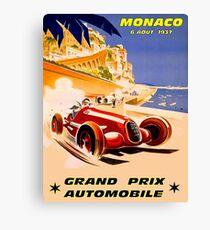 MONACO; Grand-Prix-Auto-Rennsport-Druck der Weinlese 1937 Leinwanddruck