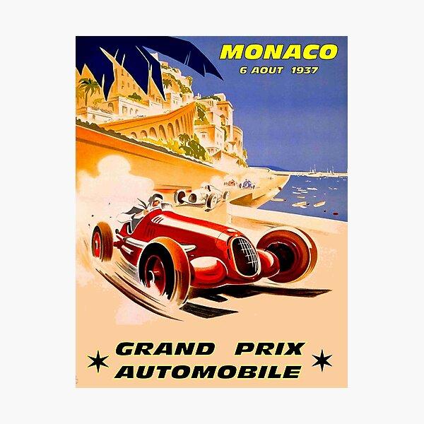 MONACO; Vintage 1937 Grand Prix Auto Racing Print Photographic Print