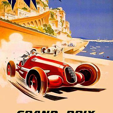 MONACO; Vintage 1937 Grand Prix Auto Racing Print by posterbobs
