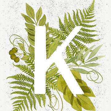 Monograma de la letra K con helecho verde acuarela y hojas de helga-wigandt