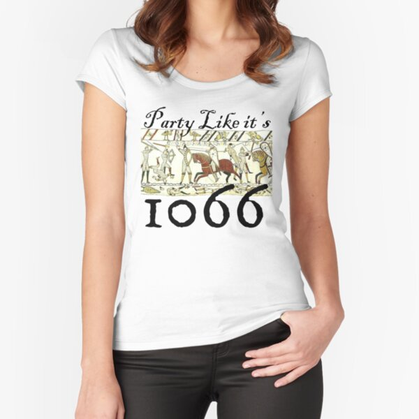 Quirky, Medieval Bayeux Tapestry, Funny Historic T shirt Fitted Scoop T-Shirt