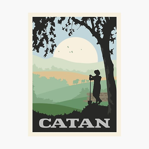 Catan Board Game- Minimalist Travel Poster Style - Gaming Art Photographic Print