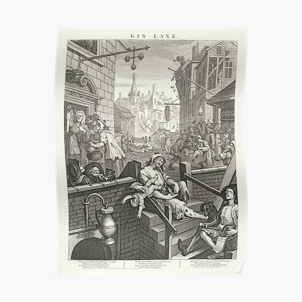 Gin Lane - William Hogarth (1697-1764) - 18th century engraving print Poster
