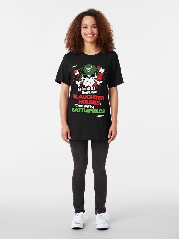 Alternate view of VeganChic ~ Slaughterhouses & Battlefields Slim Fit T-Shirt