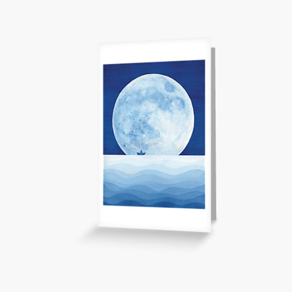 Full moon & paper boat Greeting Card