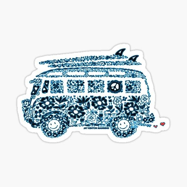 Groovy Doodle Van- (Blue line with black) Sticker