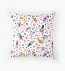 Very Berry - Watercolor Berries on white - Rebeccareckart Floor Pillow