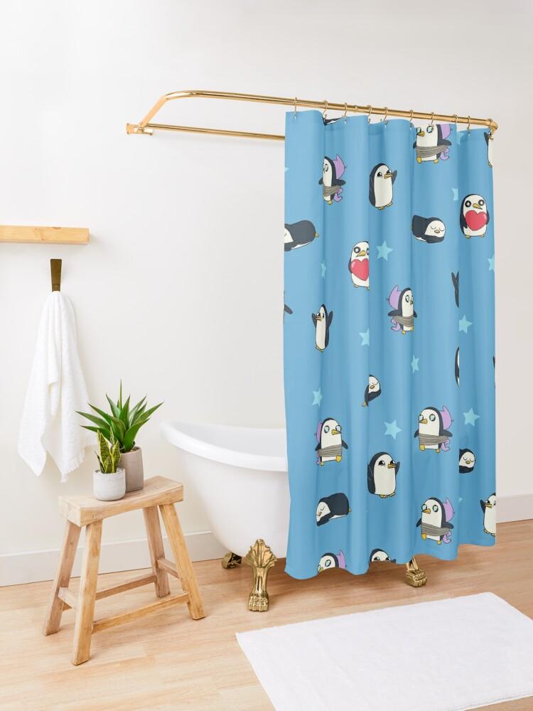 Alternate view of Gunter Pattern (Blue) Shower Curtain