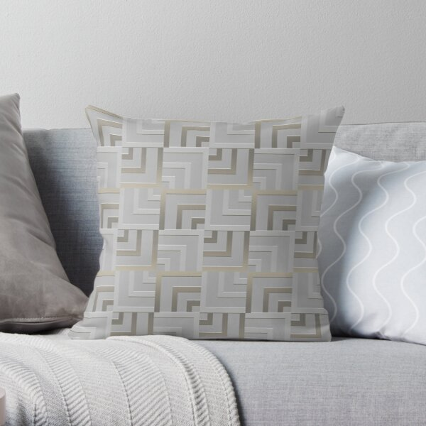 Bronze and Silver Squares Throw Pillow