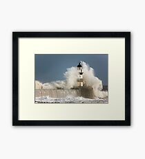 Waves Crashing Into A Lighthouse Framed Print