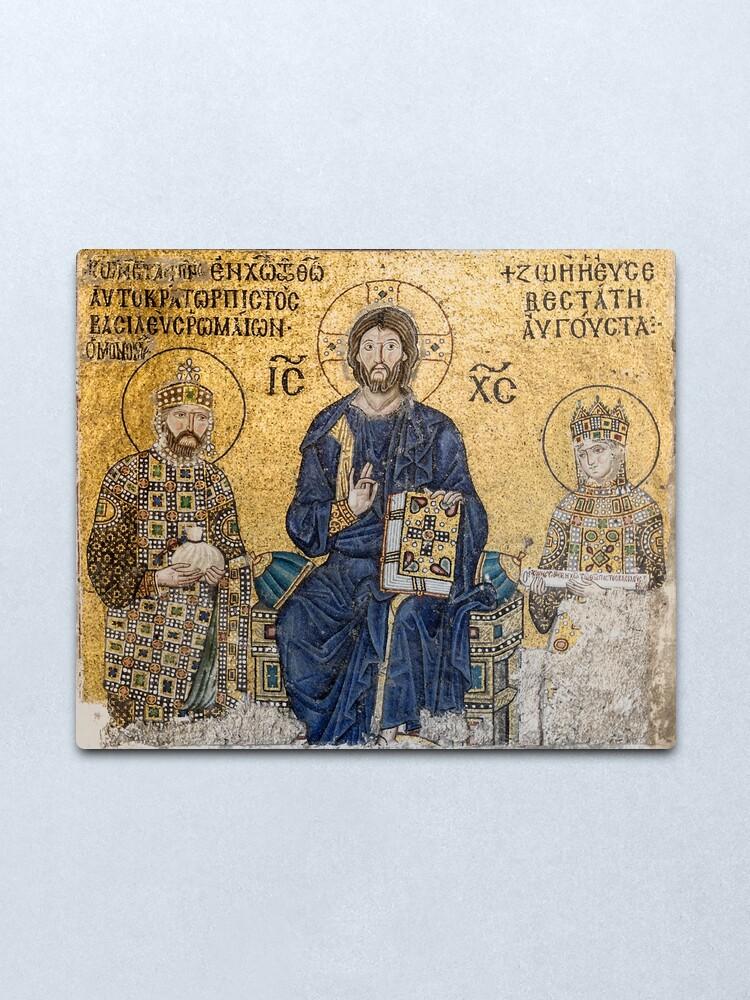 Alternate view of Jesus Christ Pantocrato mosaic in Hagia Sophia, Istanbul Metal Print