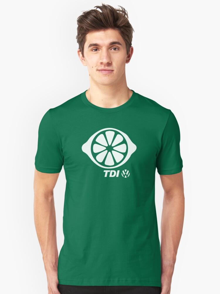 VW TDI Lemon Slice Black White Unisex T-Shirt Front