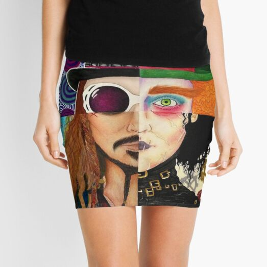 Johnny Depp Character Collage  Mini Skirt