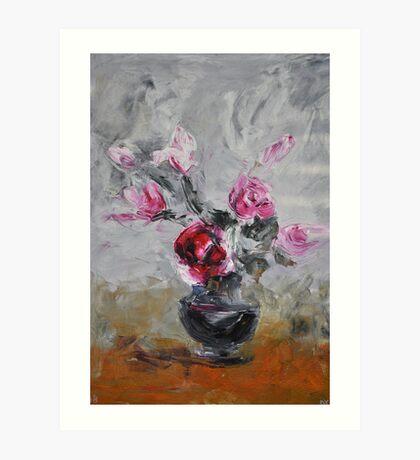 Roses in black vase Art Print