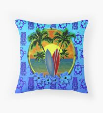 Blue Surfing Sunset Tiki Throw Pillow