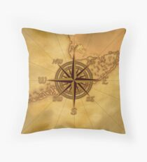Vintage Compass Rose Throw Pillow