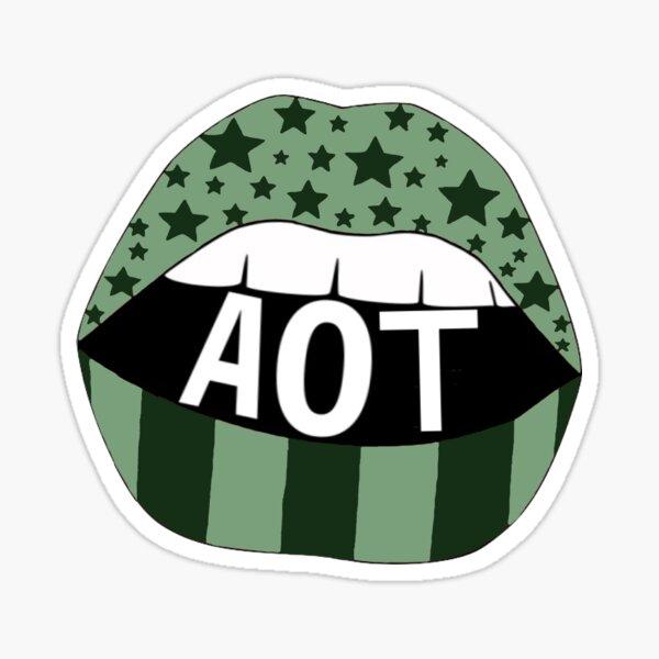 Green/Dk Green AOT Lips Sticker
