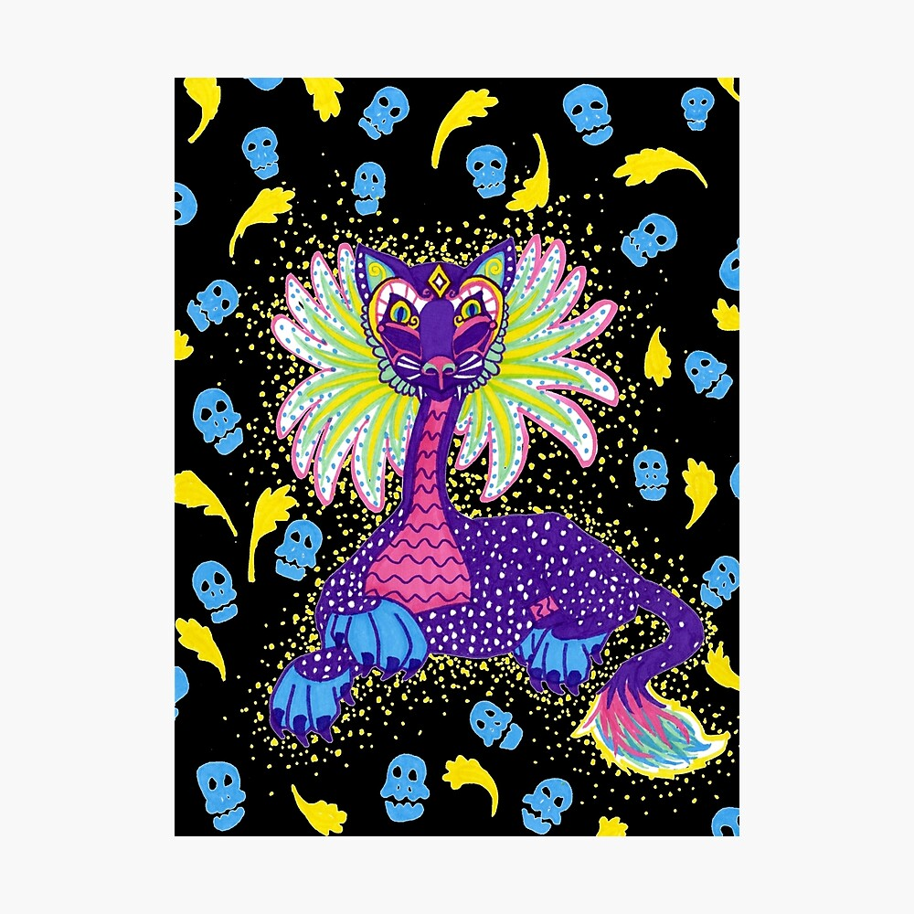 Mexican Alebrije Dia De Los Muertos Day of the Dead Big Cat Spirit Animal Photographic Print