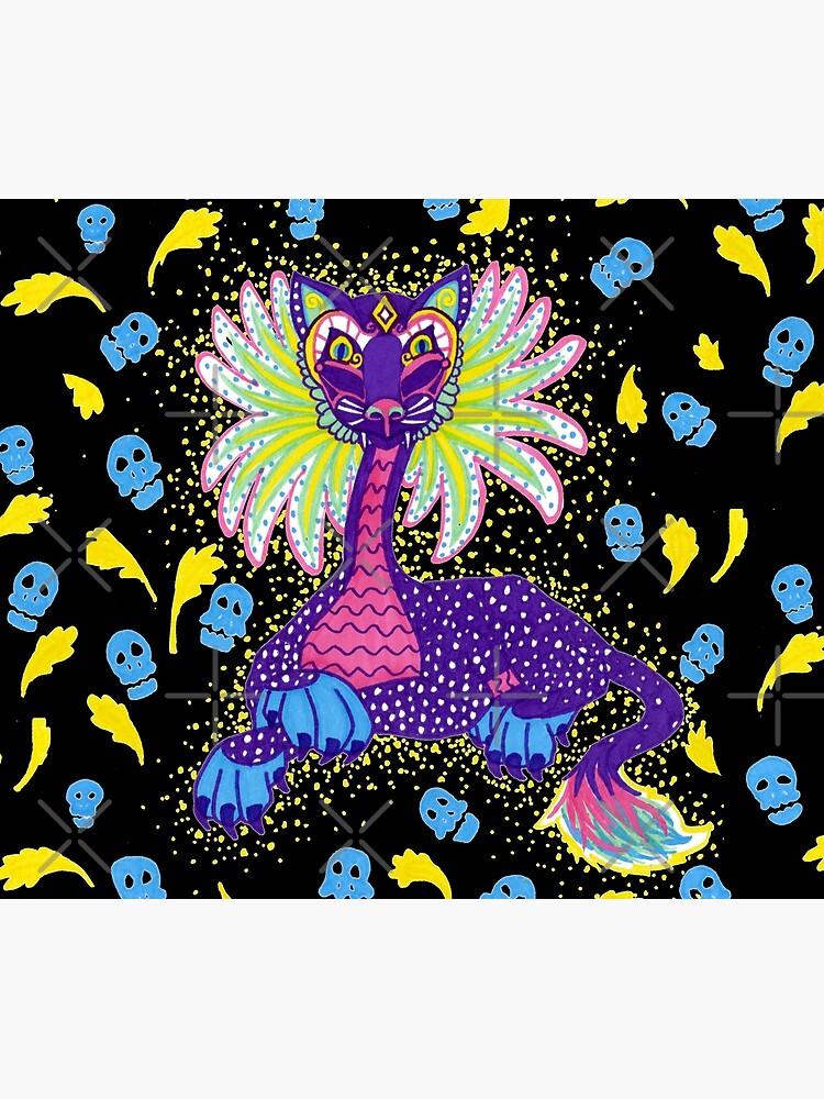 Mexican Alebrije Dia De Los Muertos Day of the Dead Big Cat Spirit Animal by tinaschofield