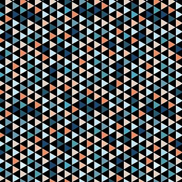 Colorful Modern Geometry Triangle Pattern in Black Background by MyArt23