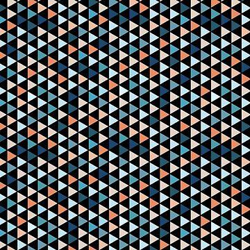 Buntes modernes Geometrie-Dreieck-Muster im schwarzen Hintergrund von MyArt23