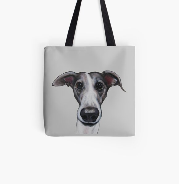 Lurcher, whippet, greyhound, grey All Over Print Tote Bag