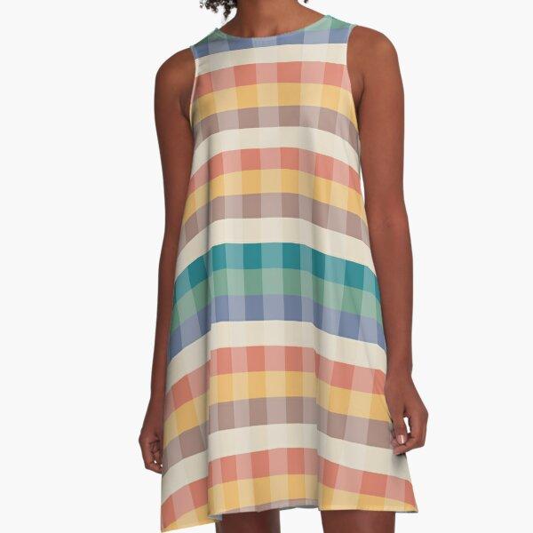 Tartan Pattern Sunset Forest Color A-Line Dress