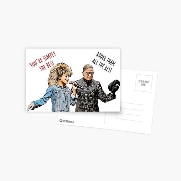 Ruth Bader Ginsburg and Tina Turner, Birthday cards, Anniversary cards, Love cards, Fathers day cards, Valentines day cards, Mothers day cards Postcard