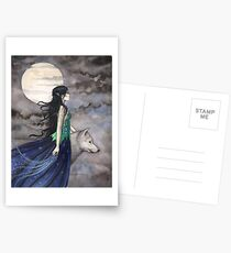 """""""Night of the Wolf"""" Gothic Fantasy Art by Molly Harrison Postcards"""