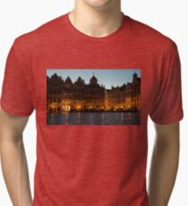 Brussels - Grand Place Facades Golden Glow Tri-blend T-Shirt