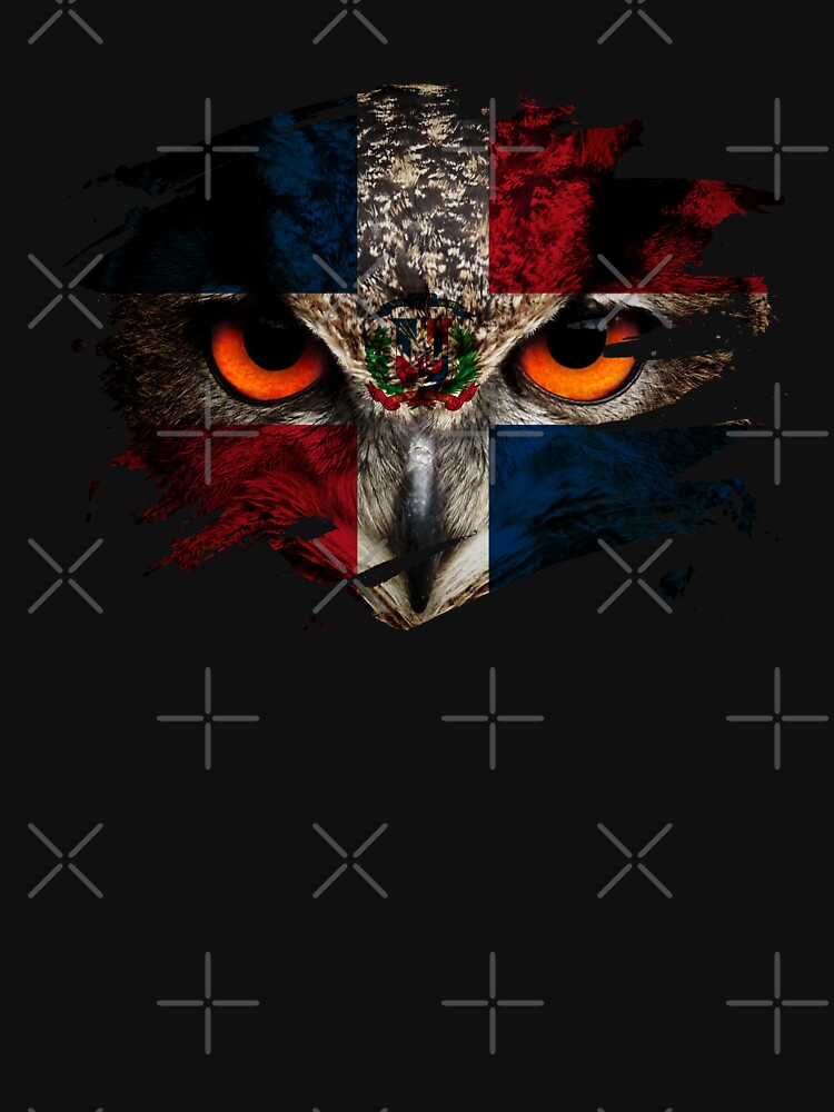 Dominican Republic Flag and Menacing Owl by ockshirts