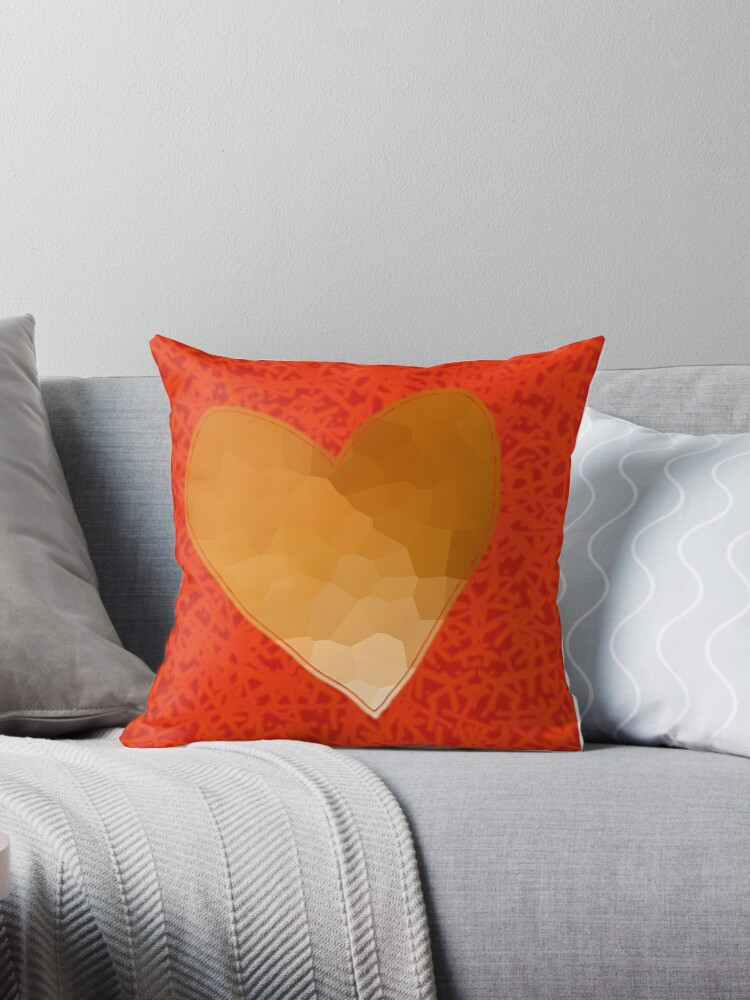 Yellow Heart On Red Throw Pillows By Ellenhenry Redbubble