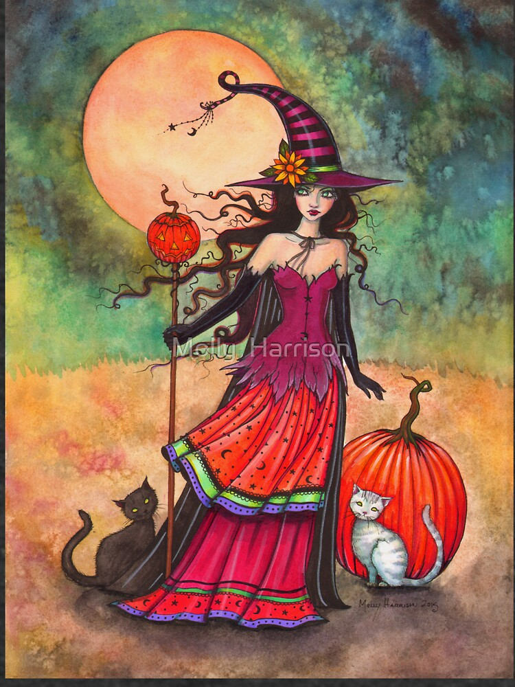 October Moon Witch and Cat Fantasy Art Illustration by robmolily