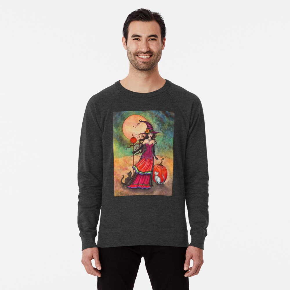 October Moon Witch and Cat Fantasy Art Illustration Lightweight Sweatshirt Front