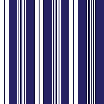 Preppy Navy Blue White Deckchair Stripe Pattern by HotHibiscus