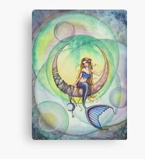 Cobalt Moon Mermaid and Crescent Moon Illustration Canvas Print