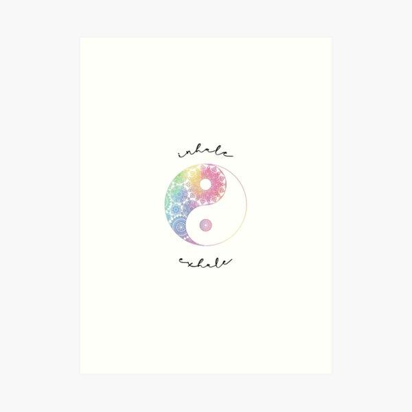 Rainbow Mandala Yin Yang Symbol Inhale Exhale Art Print