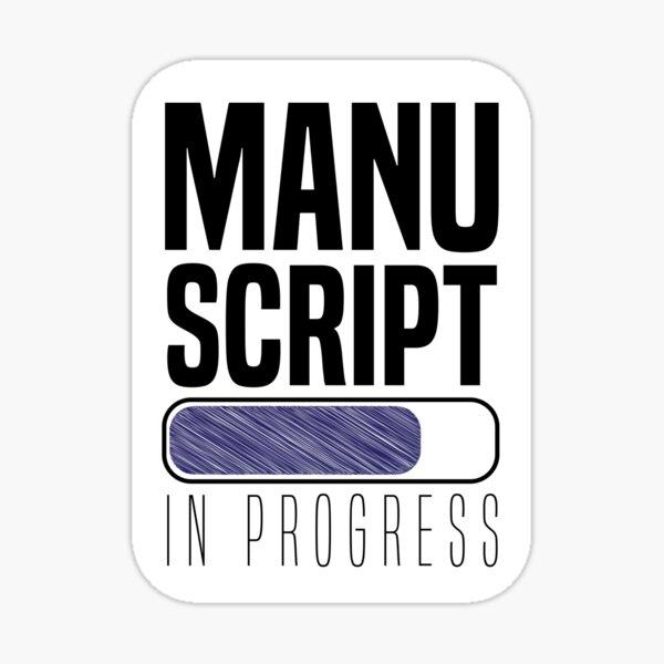 Writing a manuscript in progress with a loading bar Sticker