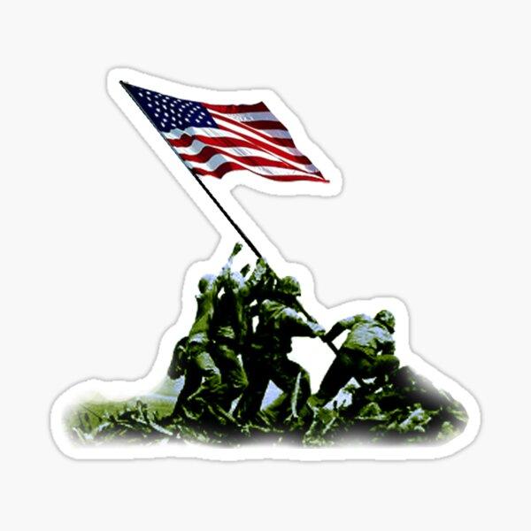 American War Flag. USA, Raising the Colours, Iwo Jima, America, Americana, WW2, WWII. Sticker