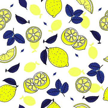 Mediterranean Blue and Yellow Lemons and Leaves Pattern by HotHibiscus
