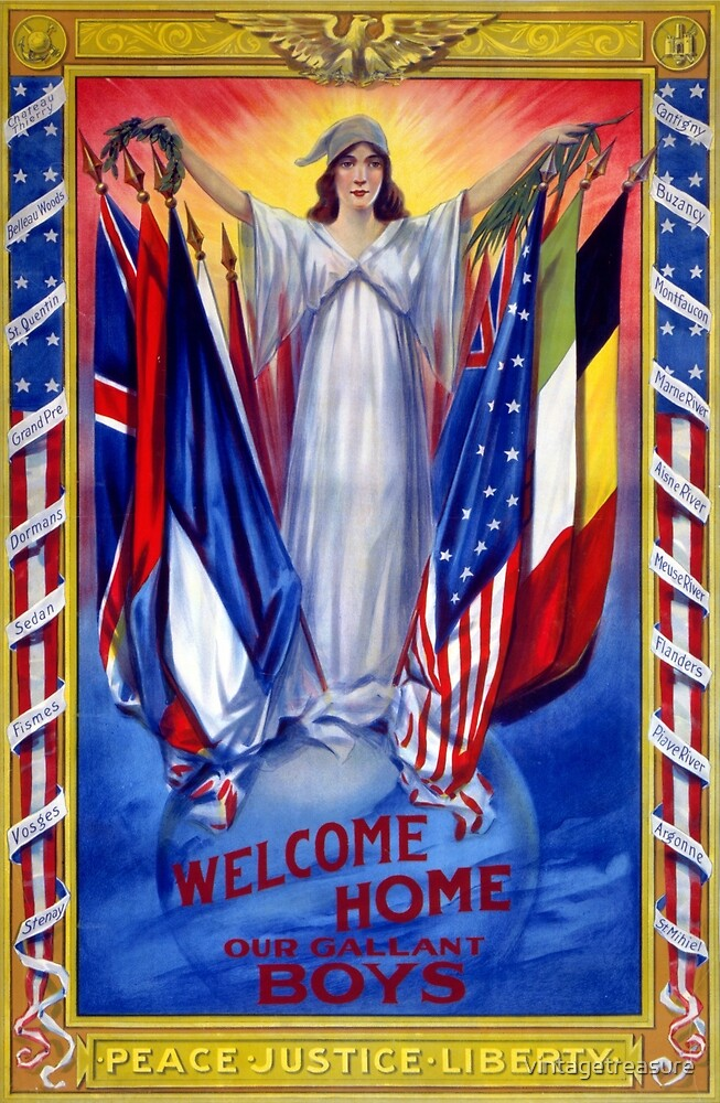 Welcome home our gallant boys Poster 1918 Restored by vintagetreasure
