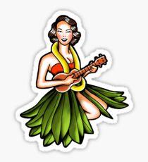 Vintage Hula Girl Sticker