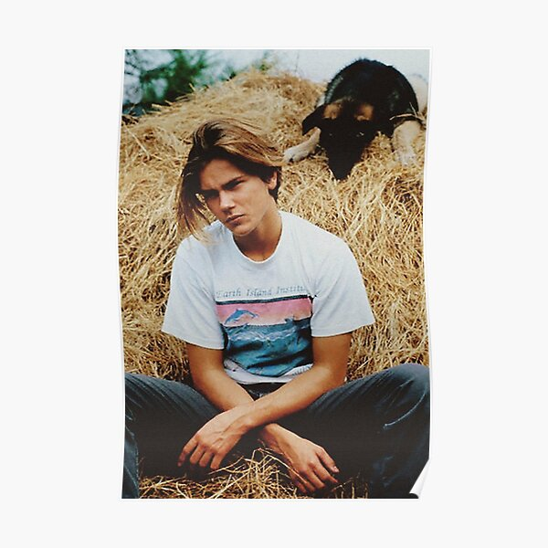 River Phoenix with Dog  Poster