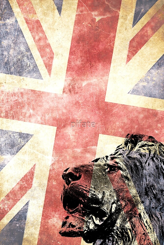 Head lion with Union Jack flag by pifate