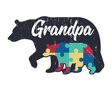 Grandpa Bear - Autism Awareness Design by dk80