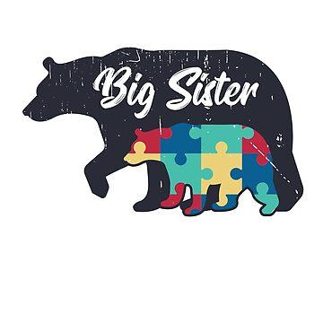 Big Sister Bear - Autism Awareness Design by dk80
