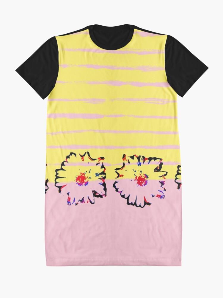 Alternative Ansicht von Streifen und transparente Frühling Blumen T-Shirt Kleid