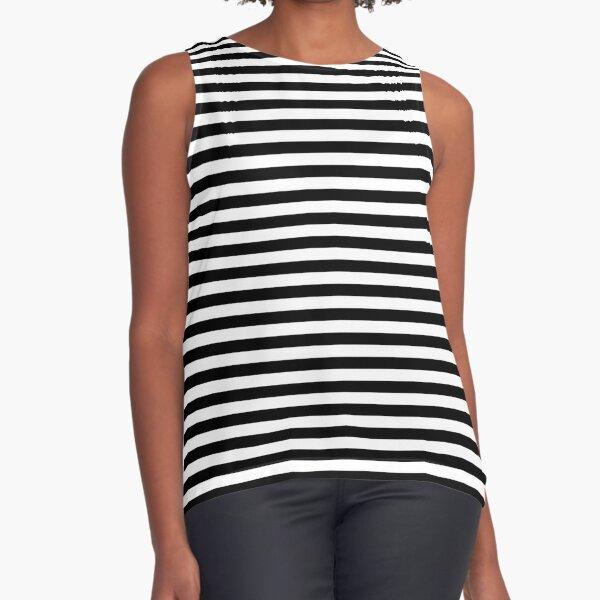 Black and White Stripes Sleeveless Top