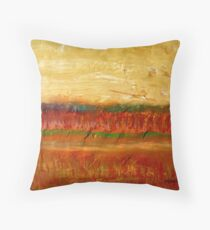 Fall colors at the end of the day, mixed media on board Throw Pillow