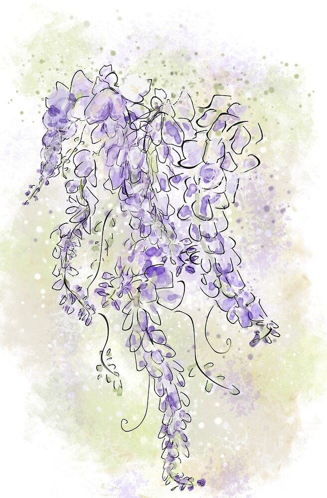 Purple Wisteria Flowers Floral Design by Clare Walker